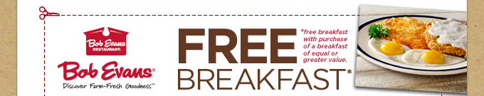 Free Breakfast with Purchase of Equal or Greater Breakfast